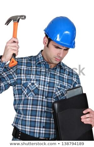 Tradesman hitting his laptop Stock photo © photography33