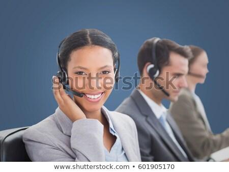 işadamı · kulaklık · beyaz · iş · gülümseme · temas - stok fotoğraf © wavebreak_media