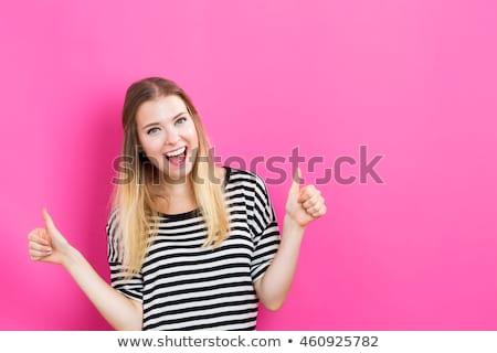 mosolygó · nő · hüvelykujj · felfelé · fehér · boldog · háttér - stock fotó © wavebreak_media