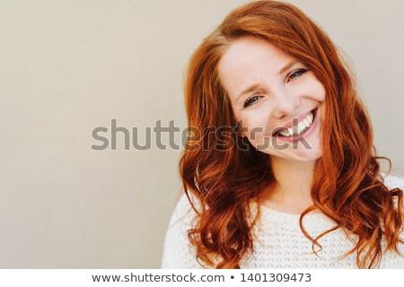 vörös · hajú · nő · szépség · közelkép · portré · csinos · lány - stock fotó © oneinamillion
