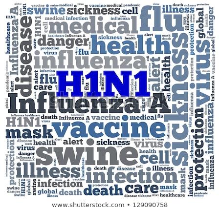 szöveg · felhő · h1n1 · vírus · kórház · beteg - stock fotó © jaggat_rashidi
