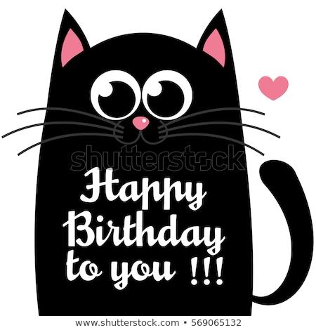 Besondere Geschenkkarte Katze Mädchen abstrakten Geburtstag Stock foto © balasoiu