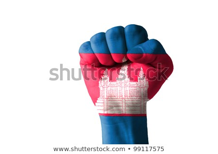 Fist Painted In Colors Of Cambodia Flag Foto stock © vepar5