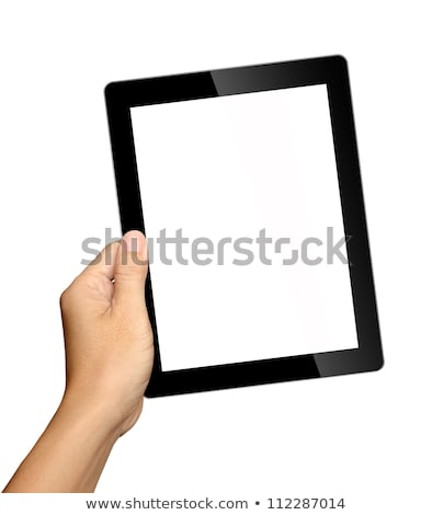 Stock photo: Hands holding tablet with news.