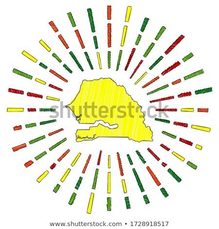 Vlag Senegal hand kleur land stijl Stockfoto © claudiodivizia