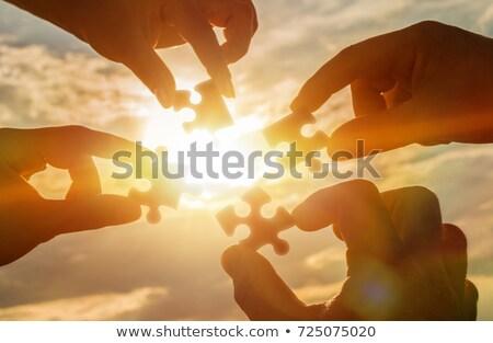 People Holding a Black Puzzle Stock photo © Nelosa