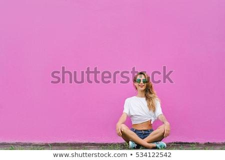 mooie · meisje · lotus · positie · jonge · mooie · vrouw - stockfoto © aikon