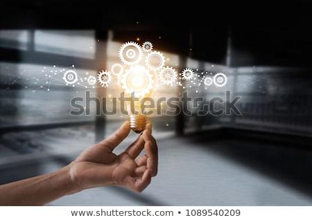 Hand Ideen Glühbirne grünen Technologie Glas Stock foto © Grazvydas