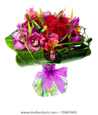 красивой · Розовые · розы · ваза · изолированный · белый · природы - Сток-фото © tetkoren