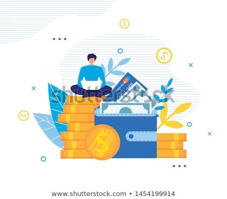 Pénzkeresés online üzletember laptop számítógép pénz internet Stock fotó © stevanovicigor