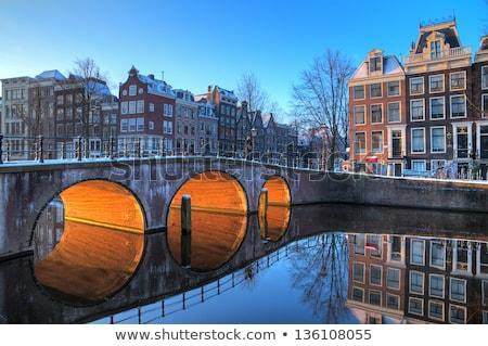 Calme rue Amsterdam ciel fleur bâtiment Photo stock © Hochwander