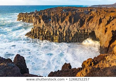 coast at los hervideros with huge waves in lanzarote stock photo © meinzahn