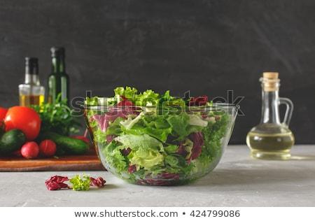 tazón · frescos · verde · ensalada · porción - foto stock © hfng
