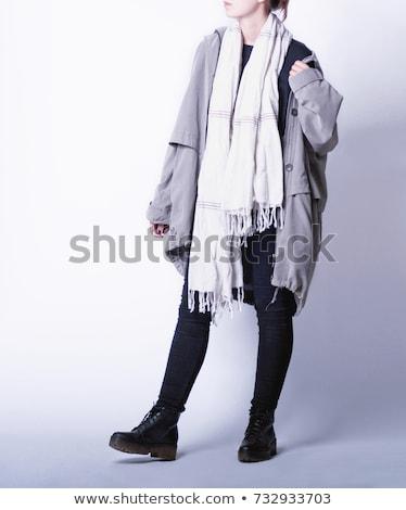 Сток-фото: модный · женщину · пальто · шарф · студию