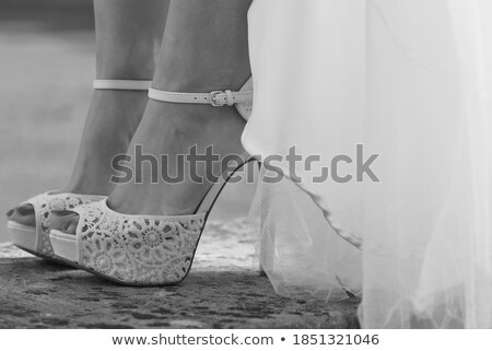 Fehér menyasszonyi elegáns cipők kint háttér Stock fotó © amok