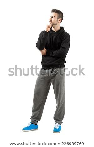 Jóképű divat férfi útvonal öltöny áll Stock fotó © feelphotoart