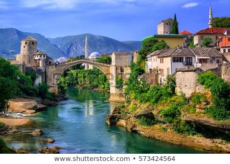 eski · köprü · Bosna · Hersek · bulutlar · inşaat · arka · plan - stok fotoğraf © alexandre17