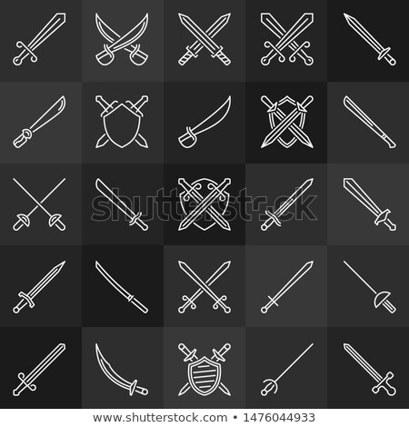 set of crossing swords icons fight concept stock photo © maximmmmum
