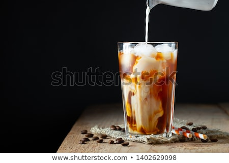 Leite vidro café preto isolado preto Foto stock © mady70