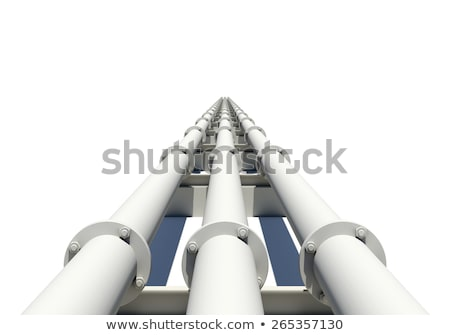 Three white industrial pipes stretching into distance. Isolated Stock photo © cherezoff