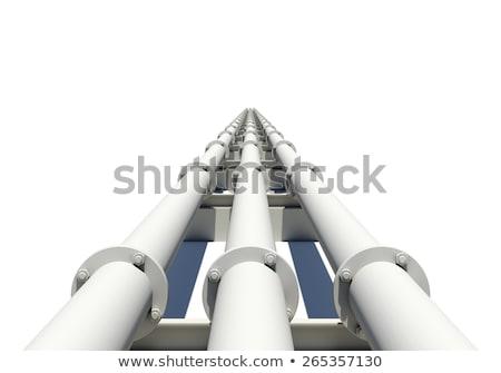 trois · blanche · industrielle · tuyaux · distance - photo stock © cherezoff