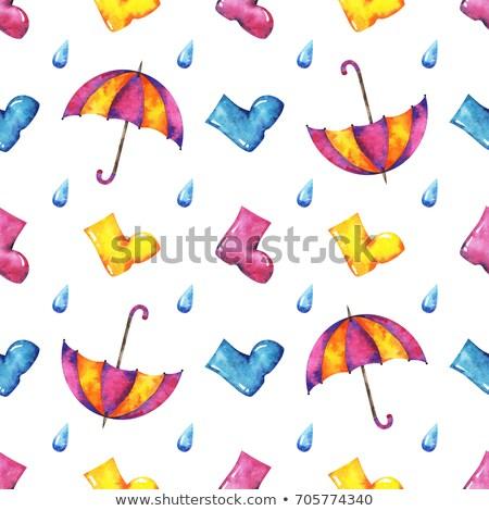 pink rubber knee-boots and umbrella Stock photo © konturvid