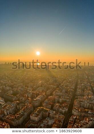panoráma · Barcelona · hajnal · épület · város · tenger - stock fotó © elxeneize