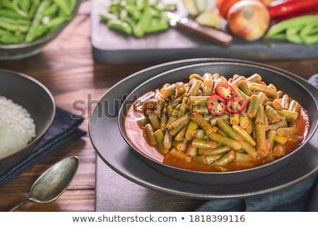 cocido · ejotes · Bush · frijoles · cebollas · perejil - foto stock © zoryanchik