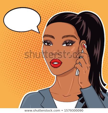 Stok fotoğraf: Kadın · telefon · pop · art · örnek · siyah