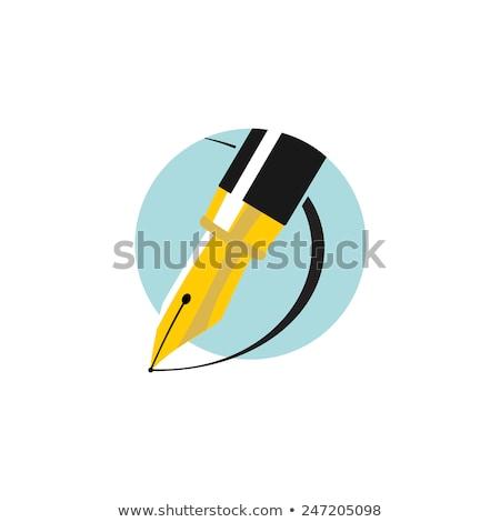 Ink Pen golden Vector Icon Design Stock photo © rizwanali3d