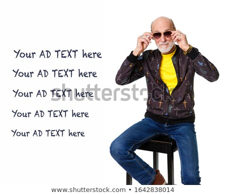 человека · очки · джинсов · сидящий · Председатель - Сток-фото © feedough