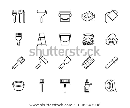 Paint pouring from bucket line icon. Stock photo © RAStudio