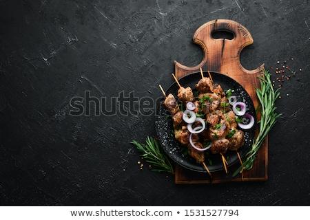 disznóhús · nyárs · zöldségek · fokhagyma · koktélparadicsom · étel - stock fotó © digifoodstock