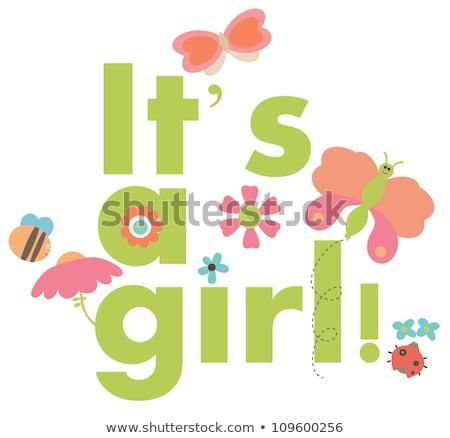 beautiful baby girl shower card with stroller stock photo © balasoiu