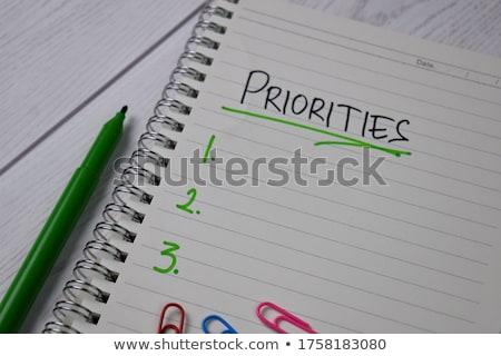Houten tafel woord business kantoor hand onderwijs Stockfoto © fuzzbones0