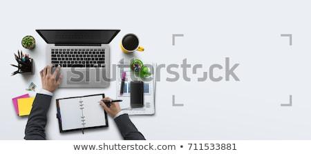 Başlatmak yukarı metin notepad renkli kalemler Stok fotoğraf © fuzzbones0