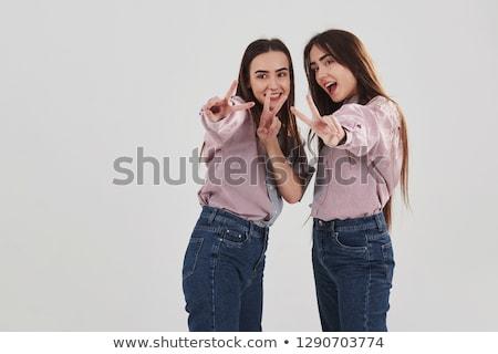 güzel · seksi · ikizler · poz - stok fotoğraf © neonshot