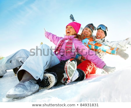 Teenagers slide downhill  Stock photo © mady70