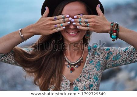 женщину · бижутерия · портрет · красивой · вьющиеся · волосы - Сток-фото © elnur