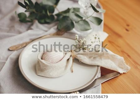 обеденный стол текстильной салфетку стекла ресторан ножом Сток-фото © dariazu