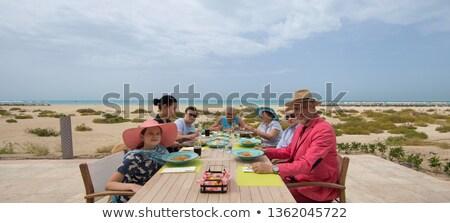 család · ebéd · freskó · nő · lány · bor - stock fotó © monkey_business