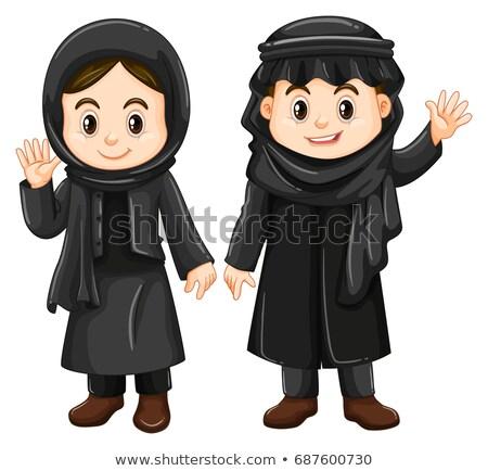Two Kuwait kids in black costume Stock photo © bluering