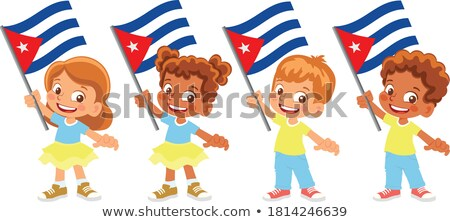 Boy and girl holding flag of Cuba Stock photo © bluering