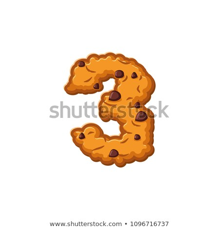 Number 3 cookies font. Oatmeal biscuit alphabet symbol three. Fo Stock photo © popaukropa