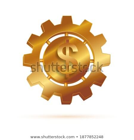 Golden Cogwheels with Stock Exchange Concept. 3D Illustration. Stock photo © tashatuvango