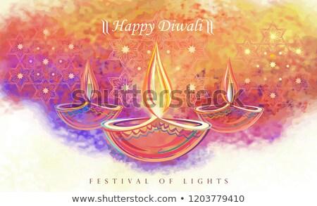 beautiful vibrant diwali greeting card design Stock photo © SArts