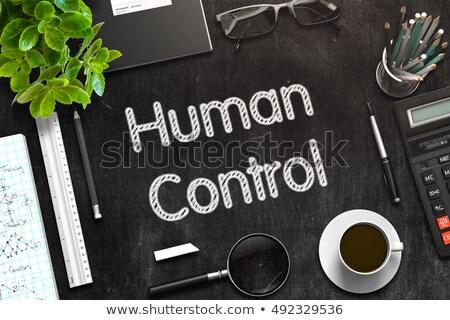 Black Chalkboard with Human Control Concept. 3D Rendering. Stock photo © tashatuvango