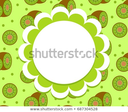 Kiwi label, wrapper template for your design. Fruit frame with space for text. Vector illustration. Stock photo © lucia_fox