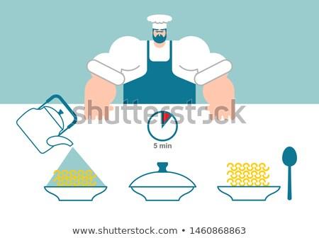 ストックフォト: 麺 · 料理 · シェフ · 方向 · インスタント