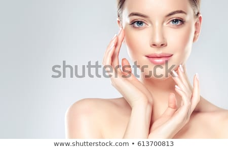 Stockfoto: Blij · gezicht · mooie · vrouw · studio · foto · vrouw · glimlach